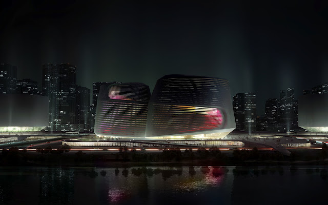 Photo of incredible new museum at night as seen from across the river