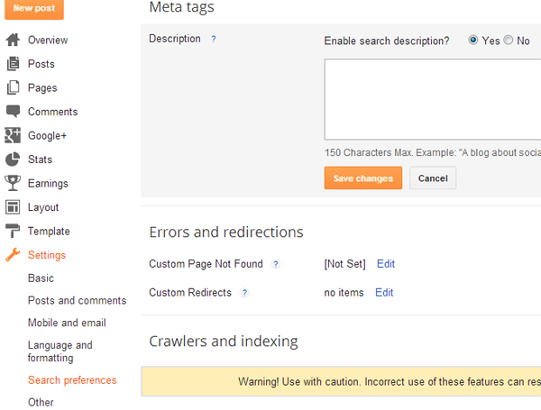 activate Post Meta Description on Blogger