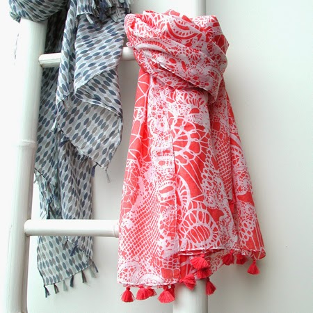 Coral & white lace print scarf