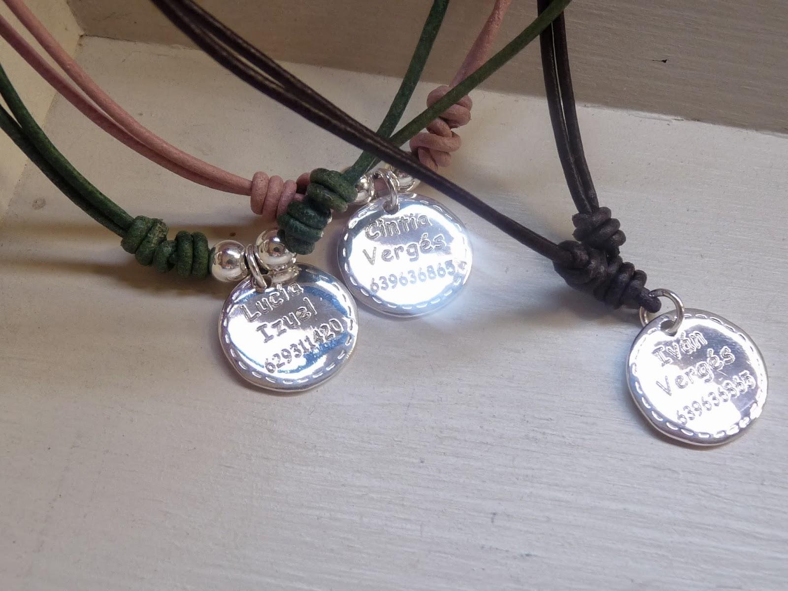 Miss medallas nuestros collares cuero el sticos plata - Collares de cuero ...