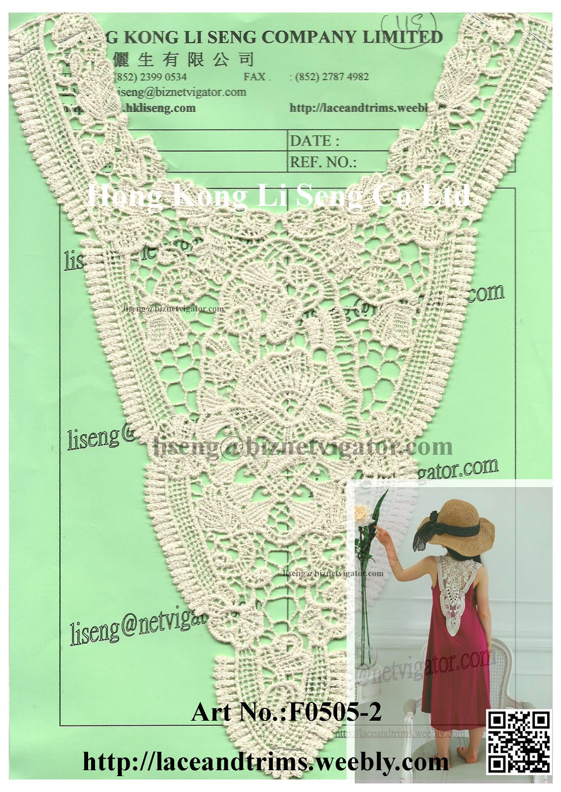 Very Nice and Cute V-Shaped Lace Applique Art No.:F0505-2