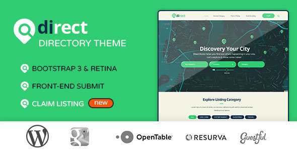 Free Download Pro Direct Directory & Listing Wordpress Theme