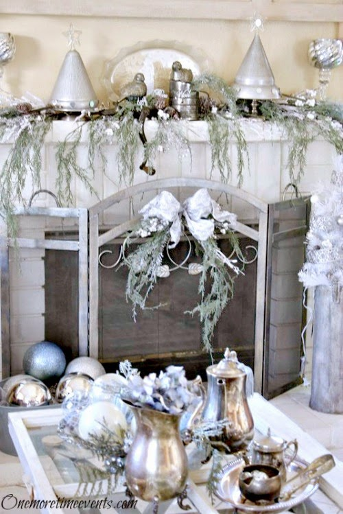 Vintage Silver and White Christmas Fireplace at One More Time Events.com