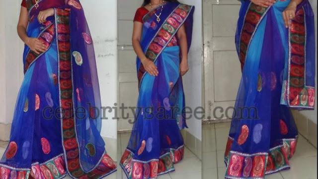Blue Net Banaras Designer Saree