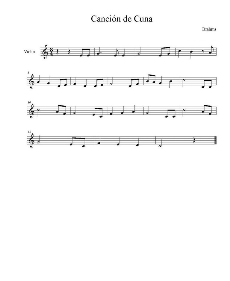 Brahms canci n de cuna partituras para violin for Cancion de cuna de brahms