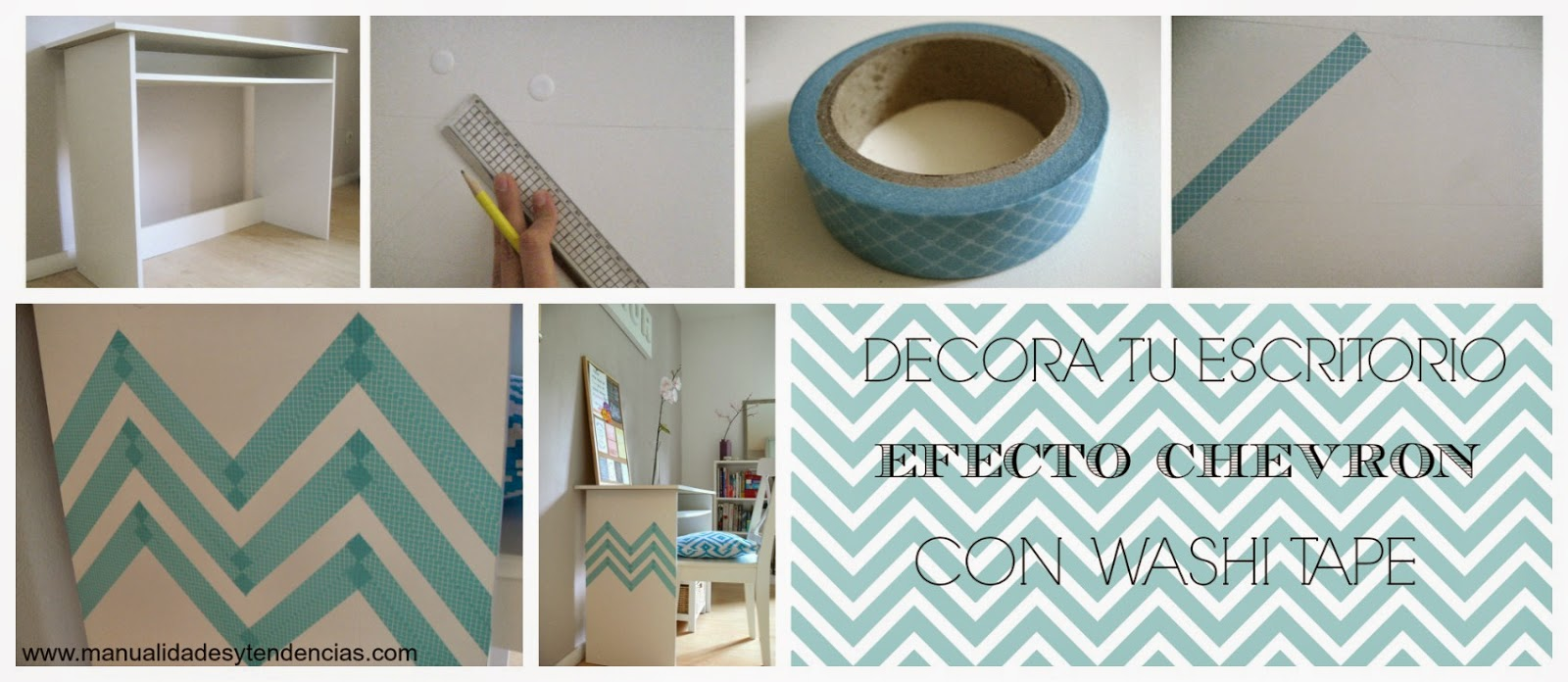 cómo decorar un escritorio con washi tape