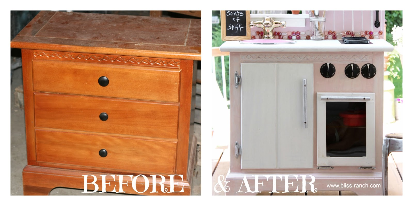 Upcycled Nightstand to Play Kitchen Bliss-Ranch.com #playkitchen #kids