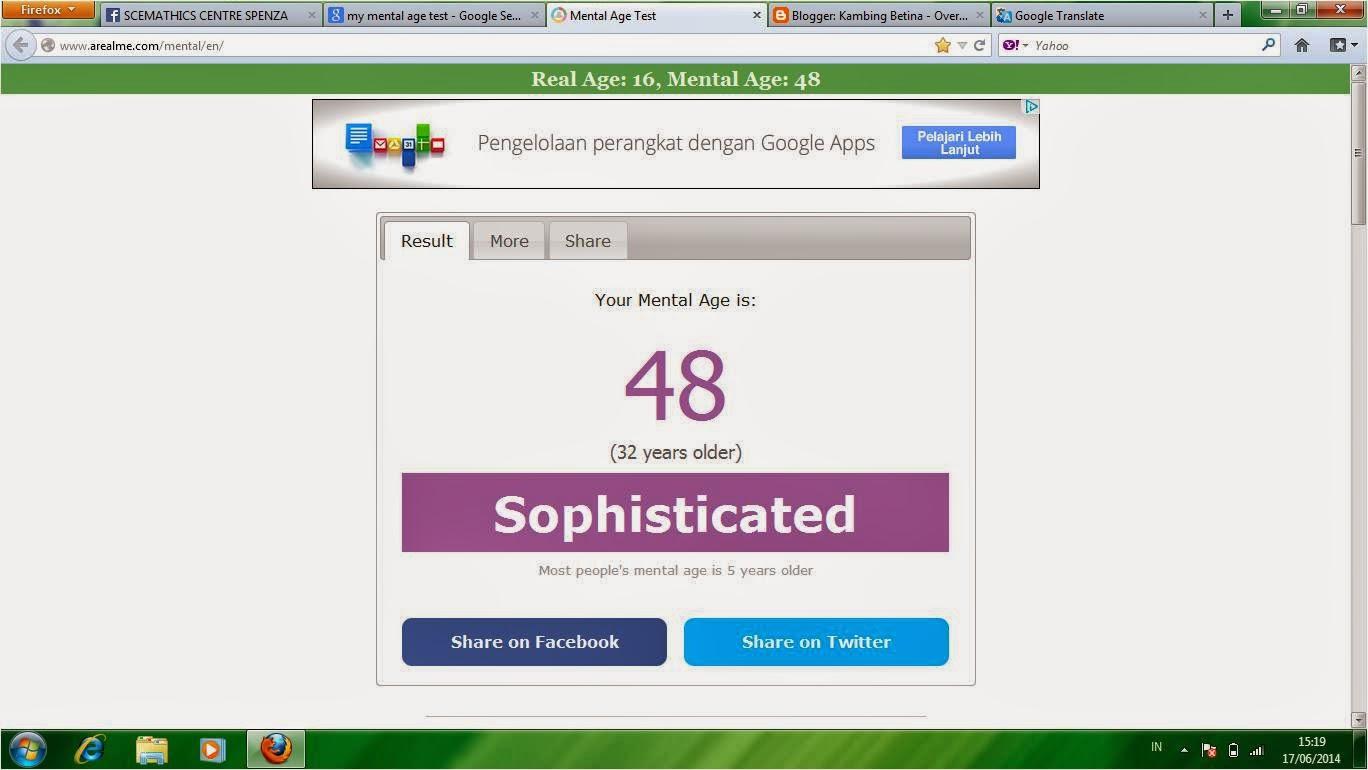 my mental age test result kambing betina