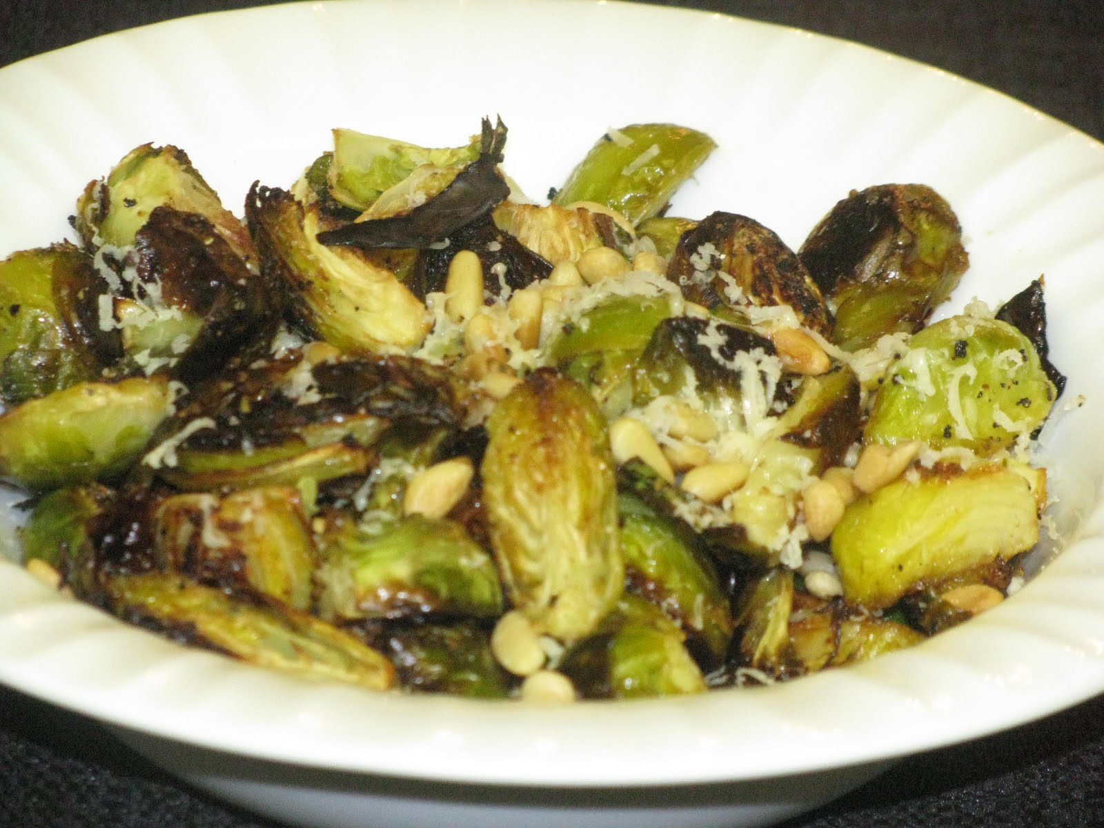 ... : Lemon Garlic Roasted Brussel Sprouts with Pine Nuts & Parmesan