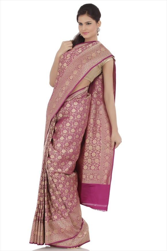 Grape Purple Satin Banarasi Saree