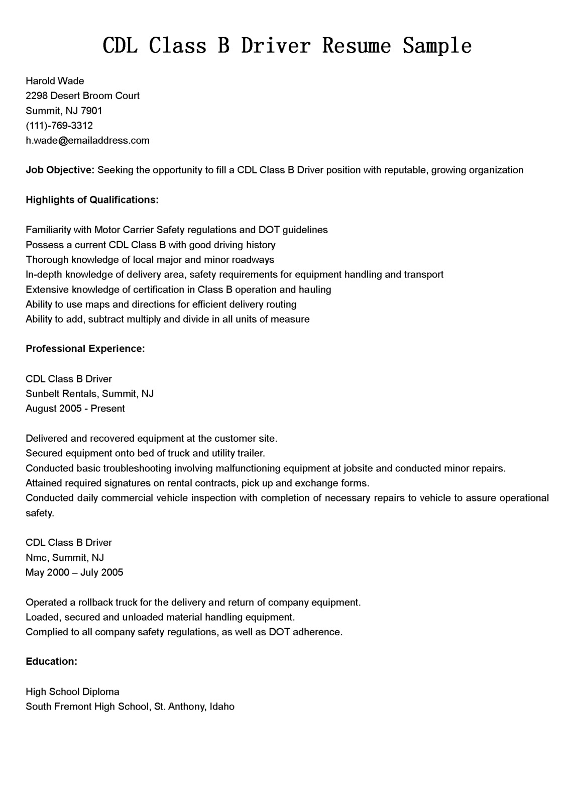 driver resumes  cdl class b driver resume sample