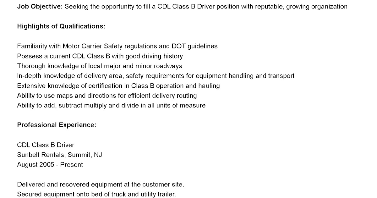 Cdl drivers resume
