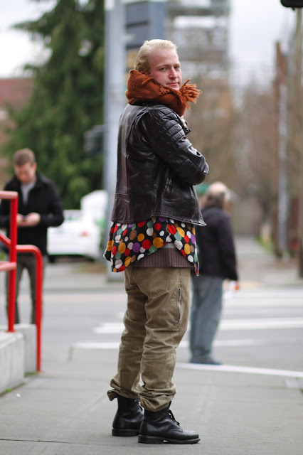 William Adams Polka Dot Shirt Scarf leather jacket seattle street style fashion it's my darlin'