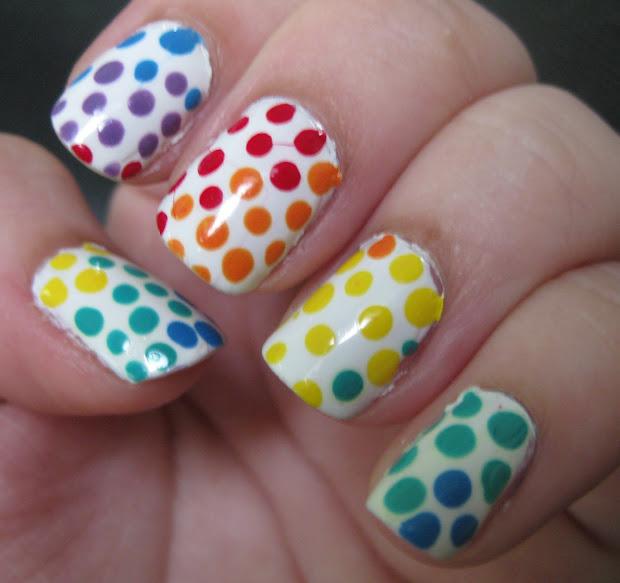 unprofessional nails rainbow polka