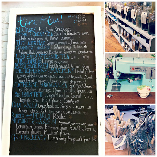 Chalkboard tea menu, Singer sewing machine, jars of loose tea, vintage cutlery at Cox & Baloney