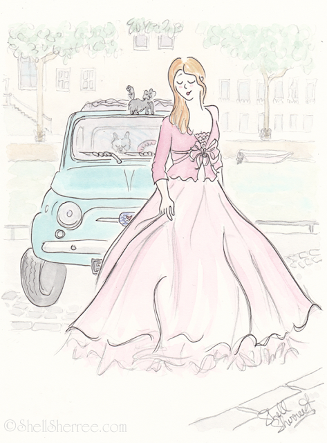Fashion and fluffballs illustration : Paris Pink and Far From Pedestrian © Shell-Sherree