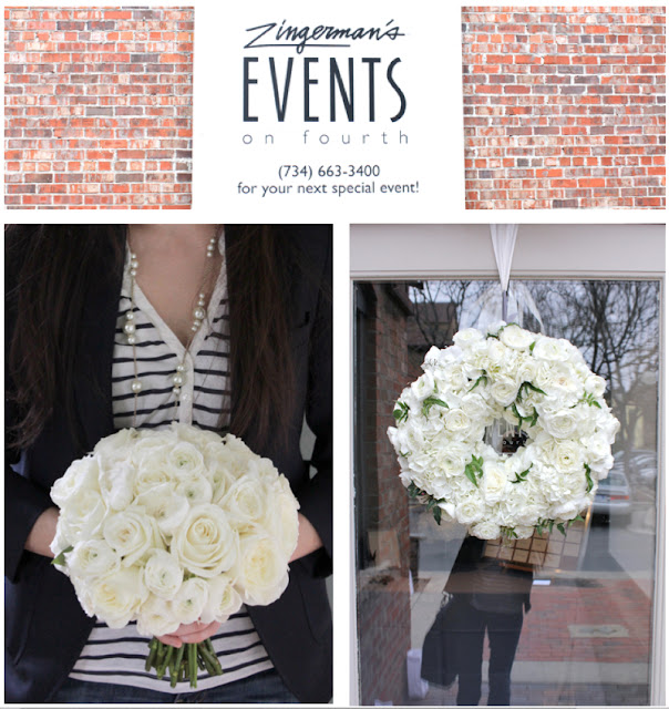 By Sweet Pea Floral Design all white floral wreath white ranunculus white hydrangea jasmine vine fresh floral wreath classic clean white for ann arbor michigan zingermans events on fourth wedding and all white brides bouquet roses and ranunculus small simple clean classic preppy