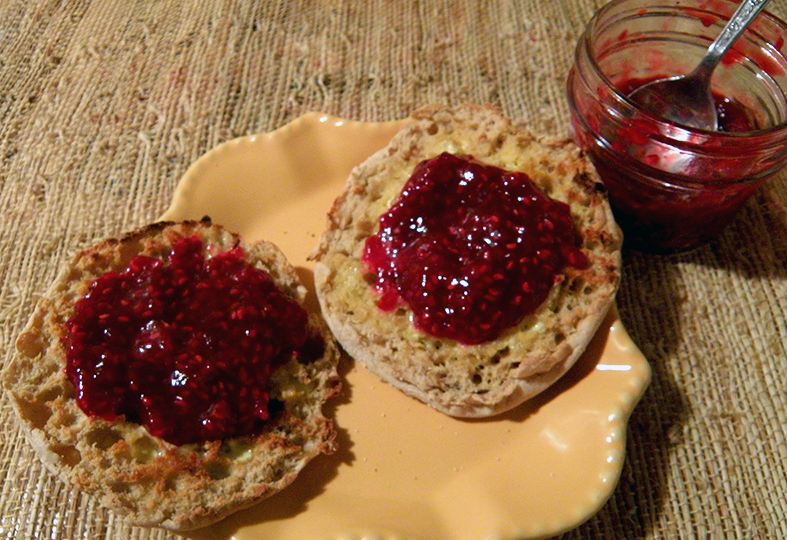 English Muffin Spread with Fresh Raspberry Jam