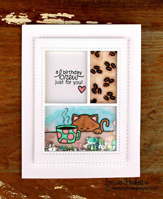 Coffee Cat Inky Paws Challenge Card by Larissa Heskett | Newton Loves Coffee stamp set by Newton's Nook Designs #newtonsnook #coffee