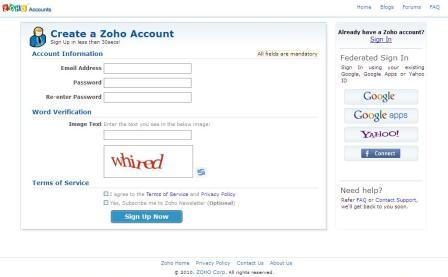 zoho sign up page