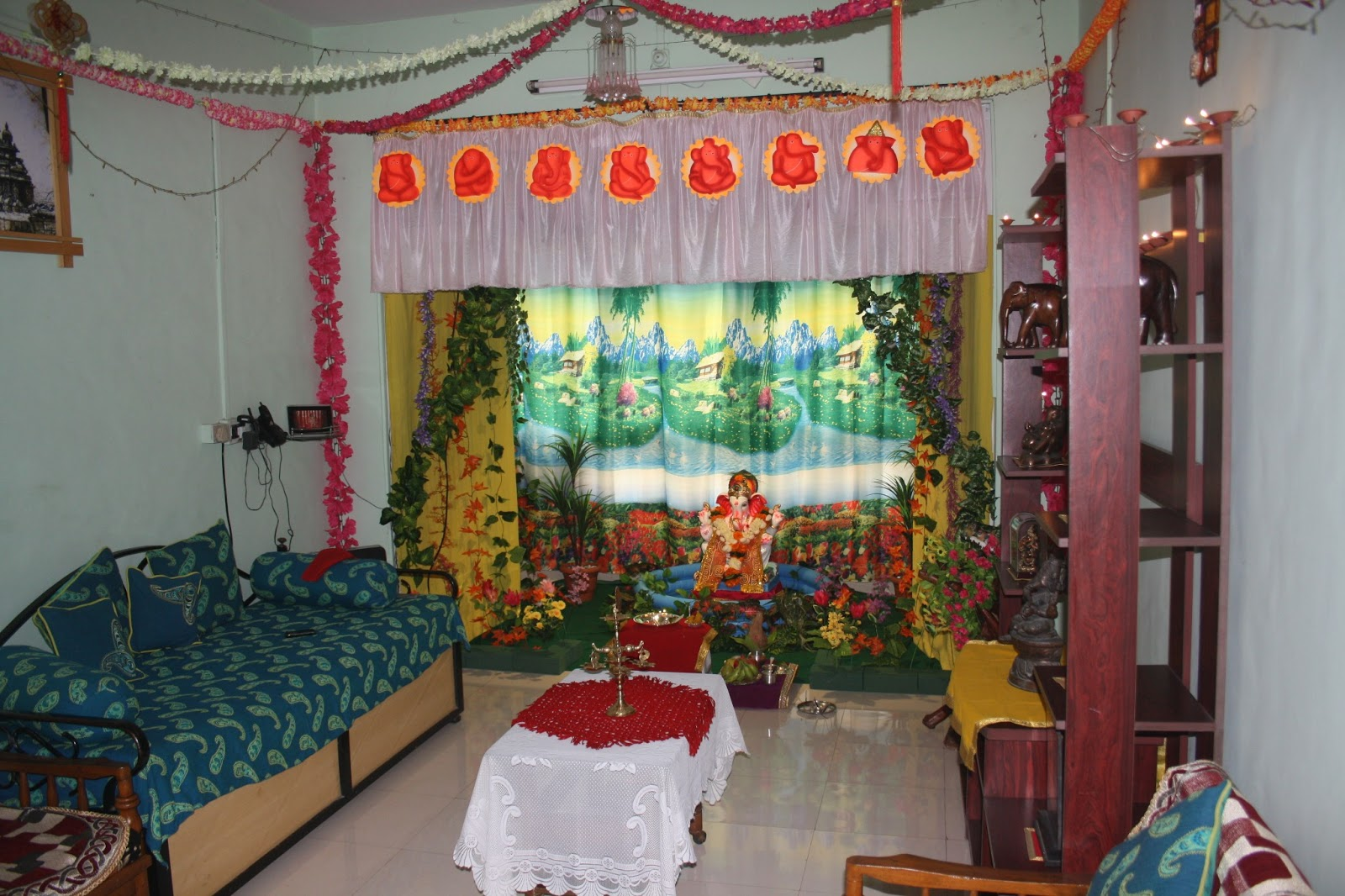 Ganpati Home Decoration With Curtains Home Decorating Ideas