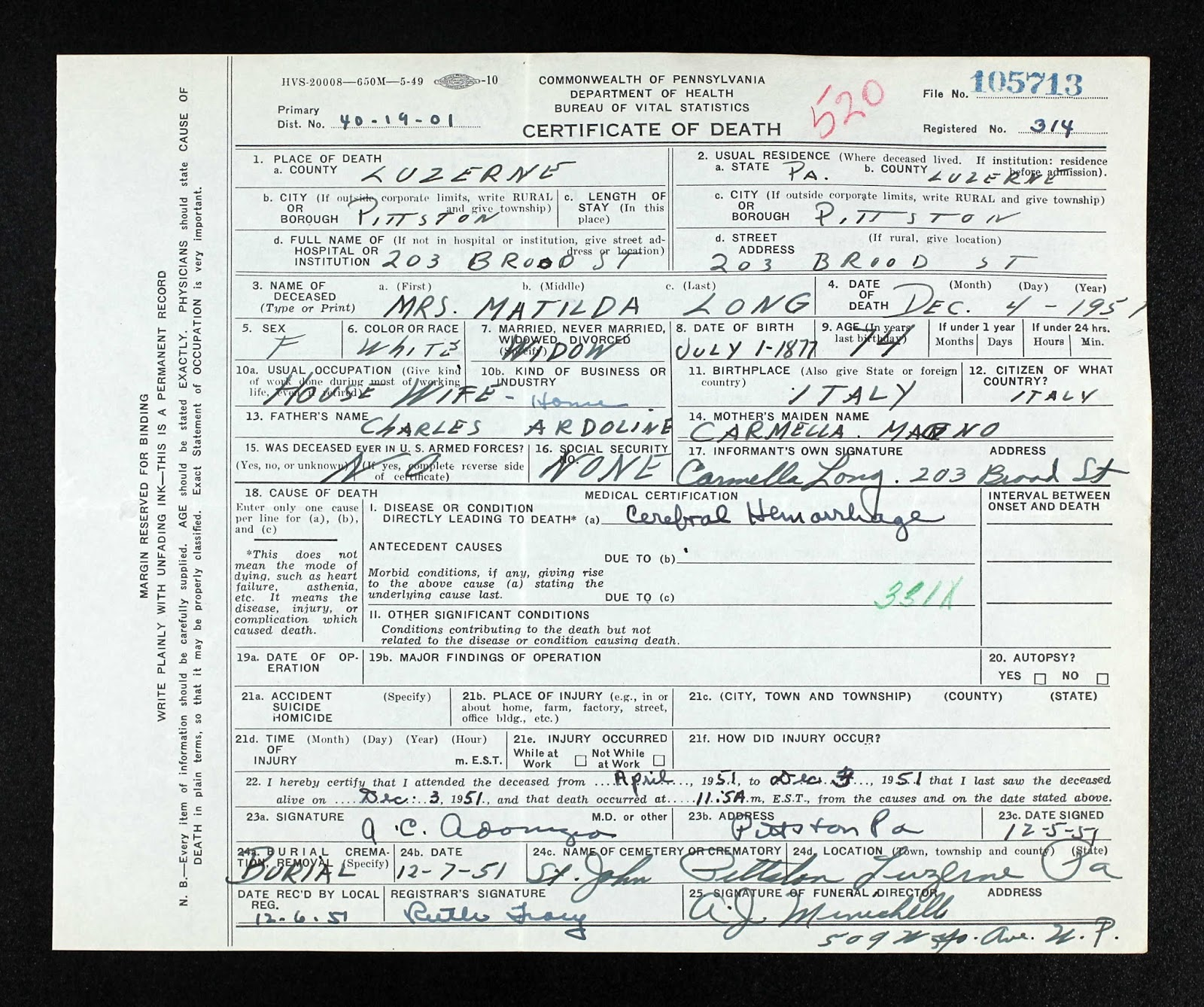 The genealogy of torre le nocelle italy 1951 pittston pa death pennsylvania death certificate file 05713 registered 314 name mrs matilda long birth 1 july 1877 in italy age 74 marital widow 1betcityfo Images