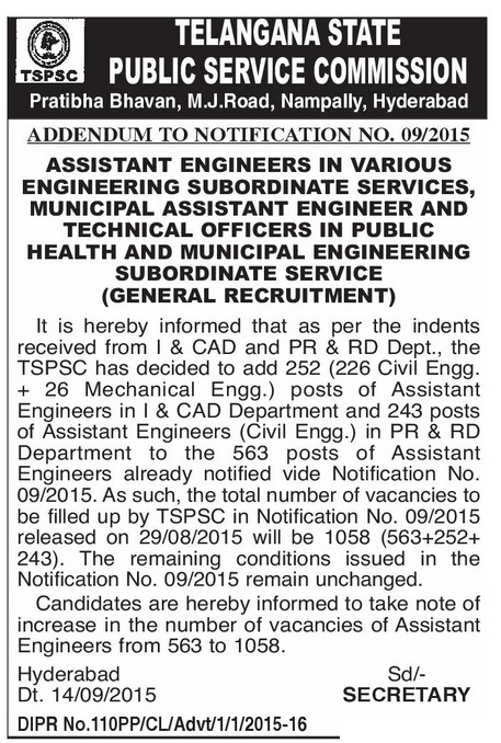 ASSISTANT ENGINEERS IN VARIOUS ENGINEERING SUBORDINATE SERVICES, MUNICIPAL ASSISTANT ENGINEER AND TECHNICAL OFFICERS IN PUBLIC HEALTH AND MUNICIPAL ENGINEERING SUBORDINATE SERVICE tspsc-assistant-engineers-aes-direct-recruitment-notification