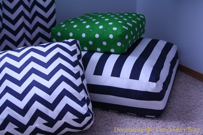 decorating the dorchester way poufs times 3. Black Bedroom Furniture Sets. Home Design Ideas