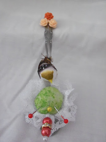 Spring Bird Tea Spoon Pin Cushion
