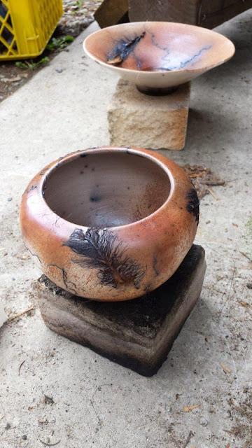 Horsehair raku pottery.