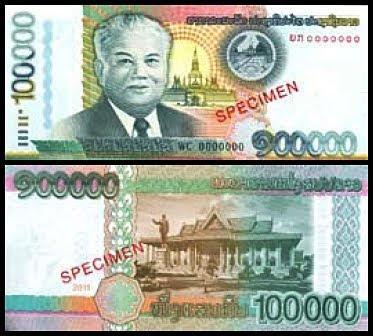 New Laos 100,000 Kip banknote