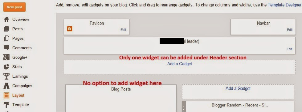 create Add a Gadget option under Header or Blog Post - blogtlog.com