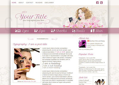 A gorgeous and soft beauty / makeup blog template from Chic and Sassy