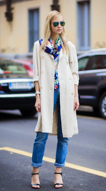STREET STYLE INSPIRATION SASHA LUSS TRENCH SCARF AND DENIM