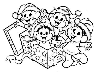 desenhos colorir da Turma da Mônica no natal