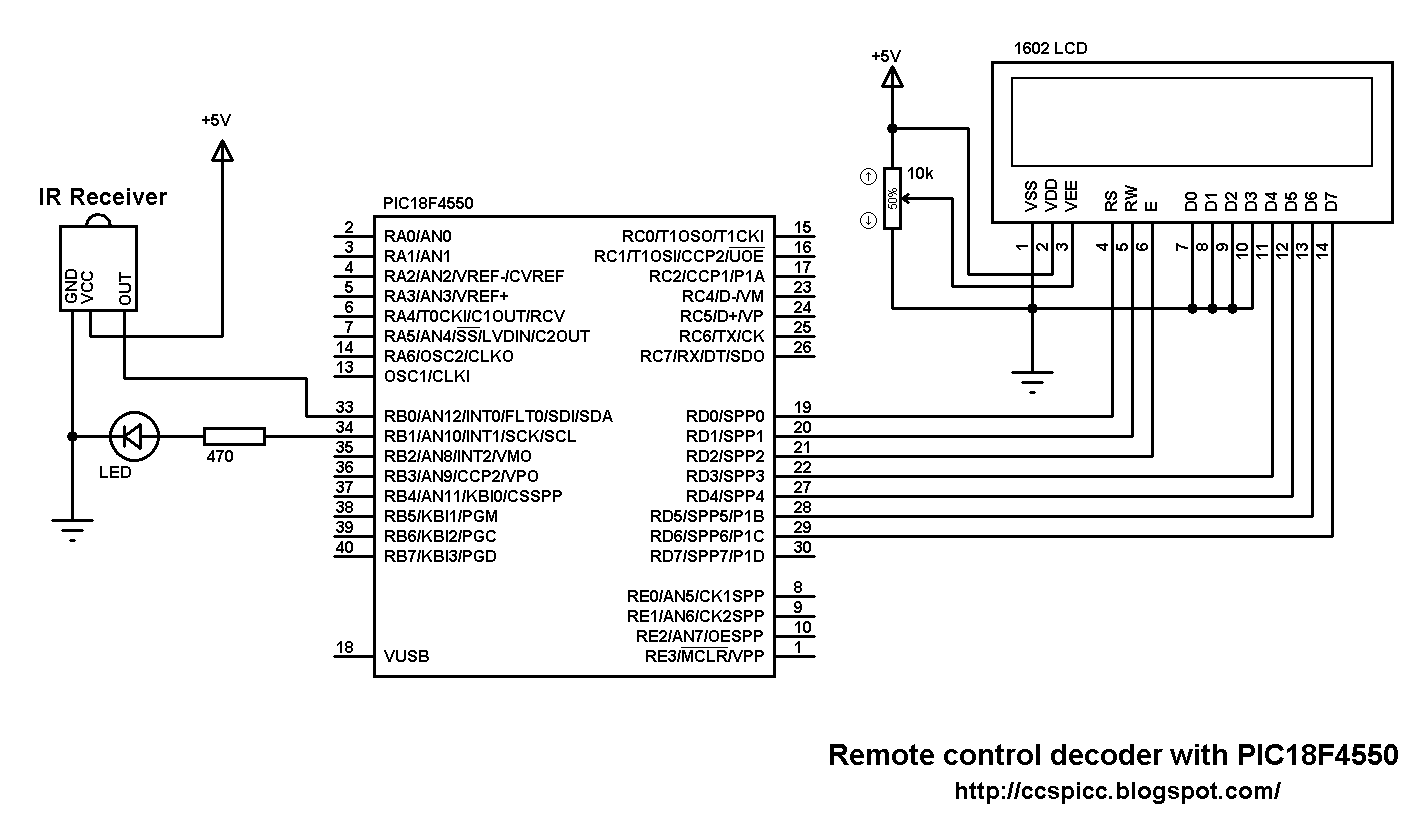 Rc 5 Remote Control Decoder With Pic18f4550 And Ccs C Simple Ir Circuit Rc5 Protocol Microcontroller Schematic Pic