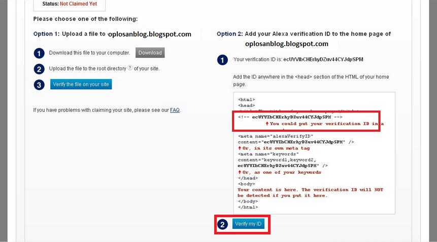 Verifikasi Kode yang diberikan Alexa Rank ke dalam Blog sobat