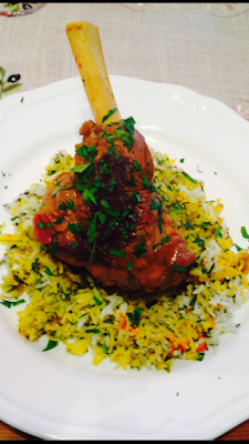 Lamb shank braise with Middle-Eastern spices on bed of rice