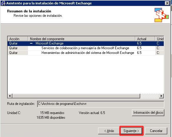 Asistente para la instalación de Microsoft Exchange - Revise las opciones de instalación.