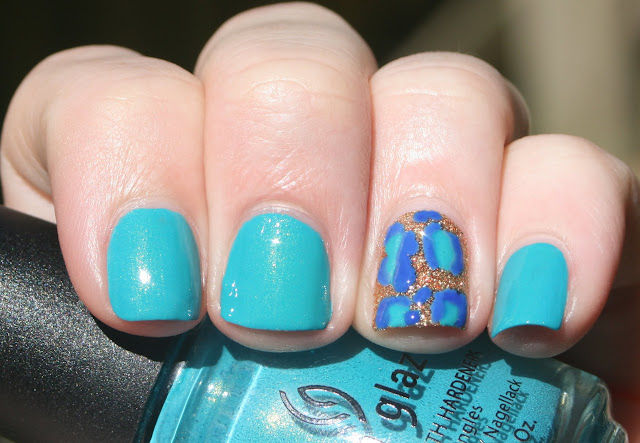 Leopard accent nail art