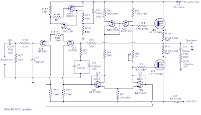 100w mosfet power amplifier based on irfp240 wiring circuit100w Mosfet Power Amplifier #19