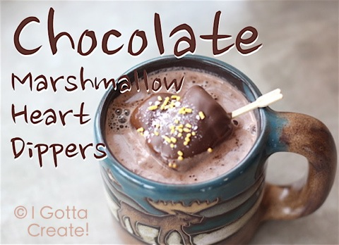 Chocolate Marshmallow Heart Dippers. Love the mug! | Recipe at I Gotta Create!