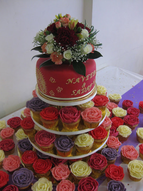 Asian Wedding Cake With Rose Cupcakes Boutique Cake Shop