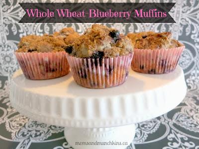 Whole Wheat Blueberry Muffins   www.momsandmunchkins.ca
