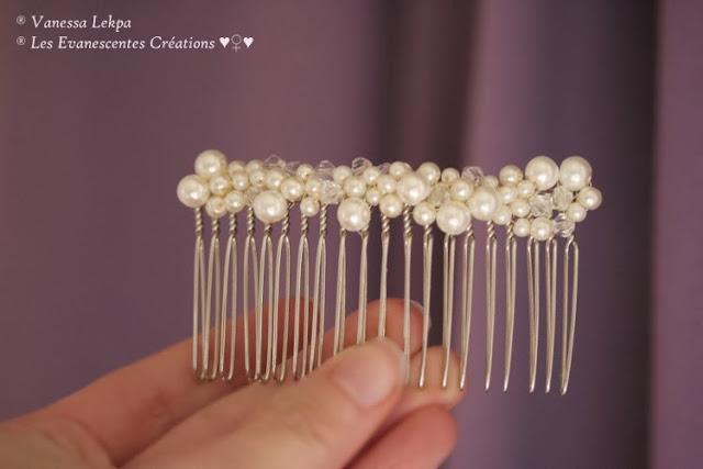 bijoux de cheveux pour mariée élagntes, vintage ,peigne en argent classique et élégant serti de perles et de cristal, haute couture, vanessa lekpa