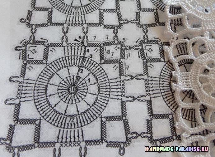 Увеличенная схема вязания крючком скатерти