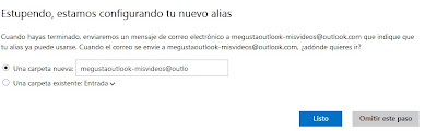 crear alias en outlook seleccionar carpeta
