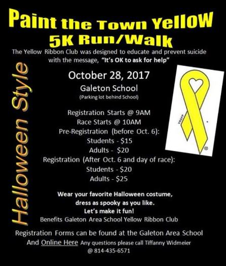 10-28 Paint The Town Yellow 5K Run/Walk