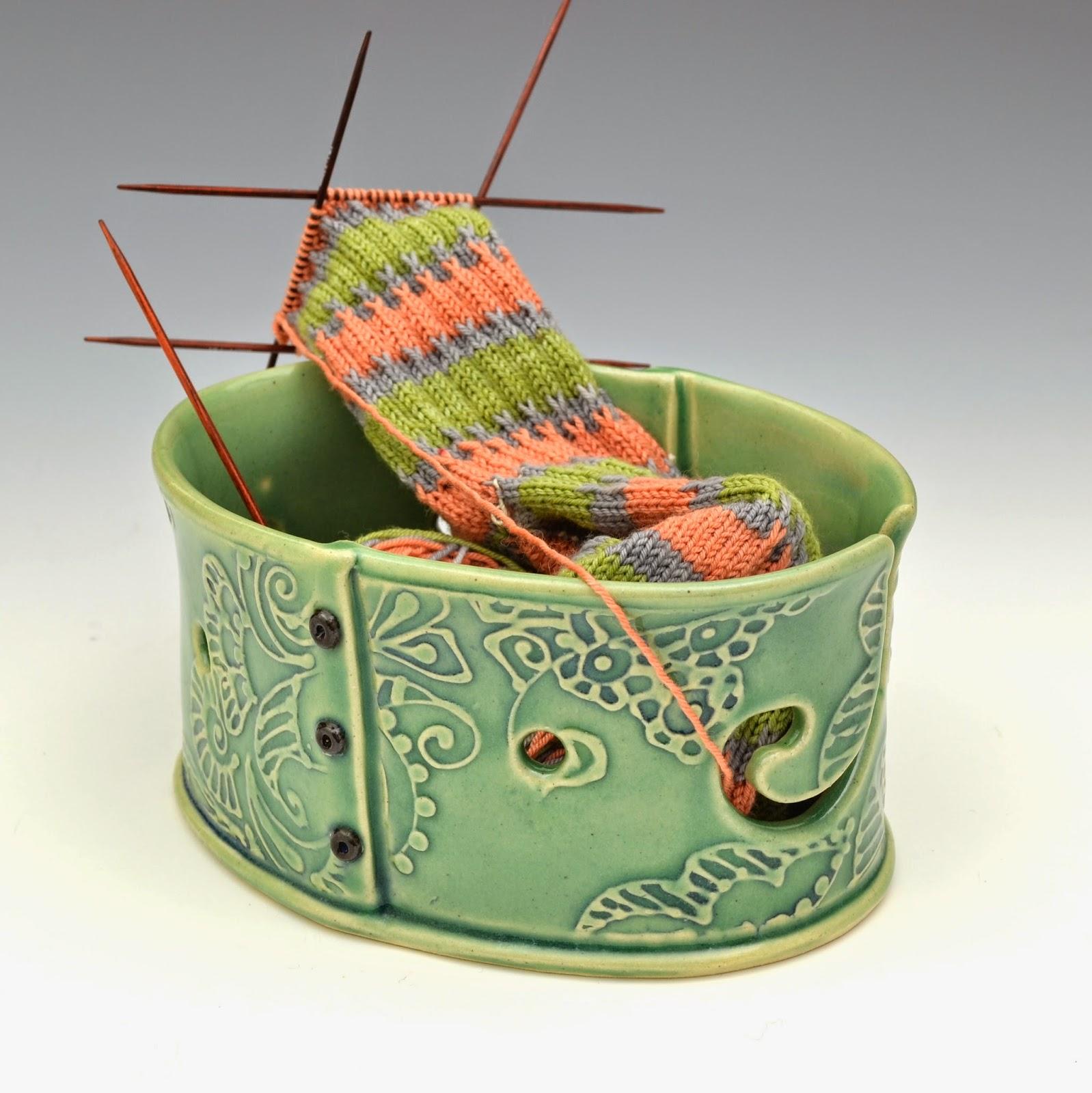 Knitting Yarn Bowl : Creative with clay pottery by charan sachar yarn bowls