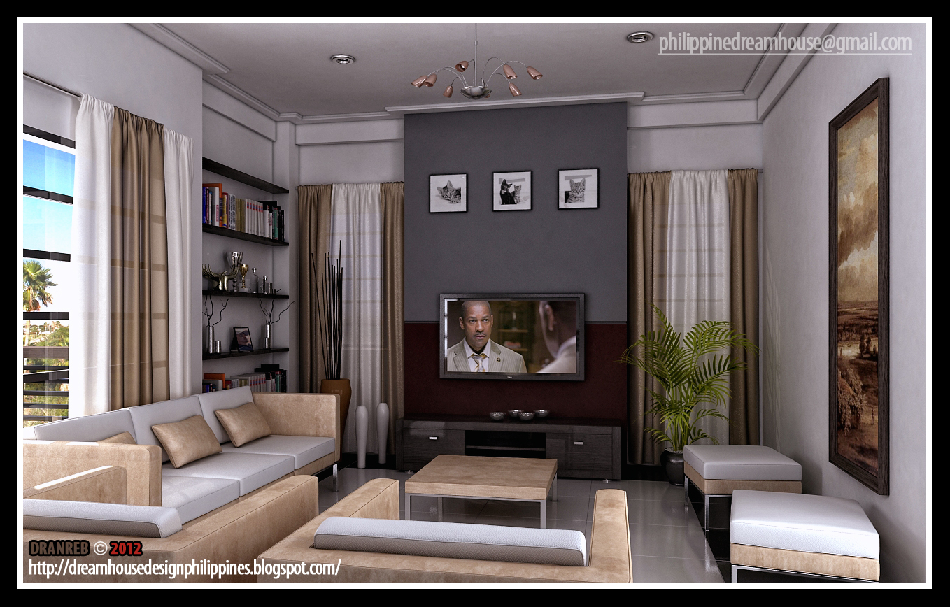 Philippine dream house design modern living room for Contemporary style living room